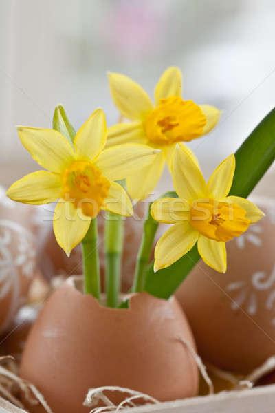Jaune oeuf shell peint œufs de Pâques fleurs Photo stock © BarbaraNeveu