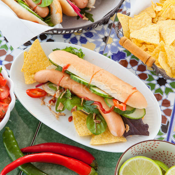Fresh hot dogs with tortilla chips Stock photo © BarbaraNeveu