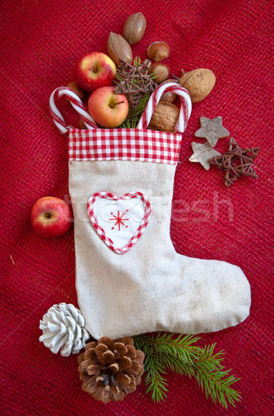 Сток-фото: Vintage · подарок · сумку · орехи · яблоки · Рождества