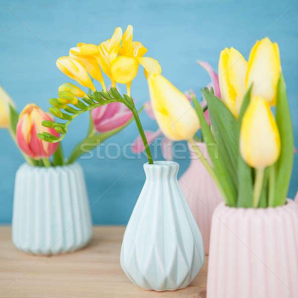 Frühlingsblumen wenig frischen farbenreich Frühling Geburtstag Stock foto © BarbaraNeveu