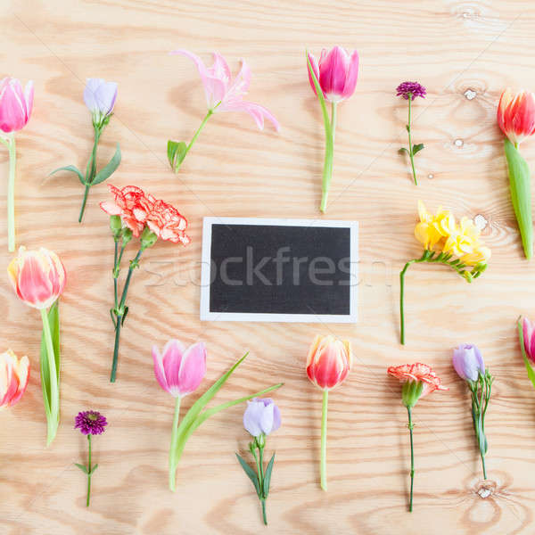 Variëteit vers bloemen lentebloemen rustiek houten Stockfoto © BarbaraNeveu