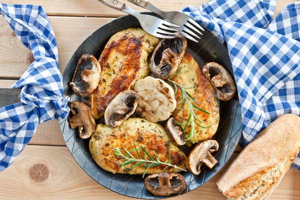 Gemarineerd kipfilet champignons knoflook voedsel groenten Stockfoto © BarbaraNeveu