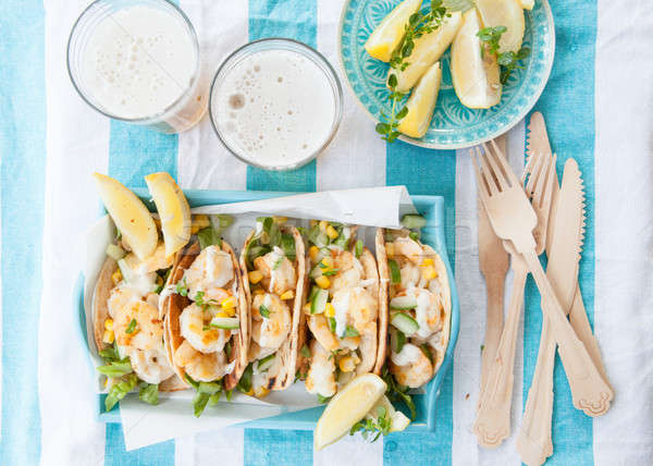Shrimp tacos with fresh lemon Stock photo © BarbaraNeveu