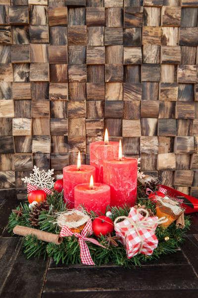 Négy piros advent gyertyák rusztikus fa Stock fotó © BarbaraNeveu