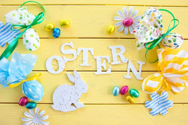 Stockfoto: Decoraties · Pasen · kleurrijk · Geel · houten · chocolade