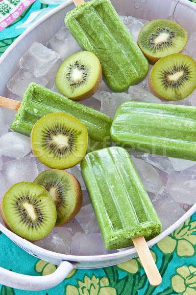 Zöld friss kiwi jégkockák étel jég Stock fotó © BarbaraNeveu
