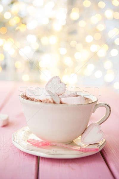 Chocolate quente rosa rústico comida beber doce Foto stock © BarbaraNeveu