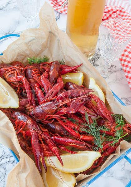 Gekocht frischen Zitrone Fisch Kräuter Weinflasche Stock foto © BarbaraNeveu