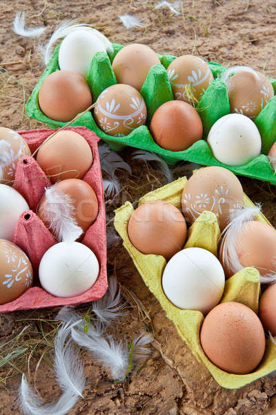 Stock photo: Background with a variety of eggs