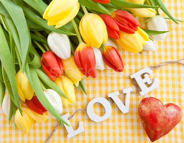 Frescos ramo tulipanes colorido amarillo Foto stock © BarbaraNeveu