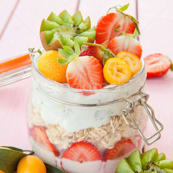 Porridge with fruits and yogurt Stock photo © BarbaraNeveu