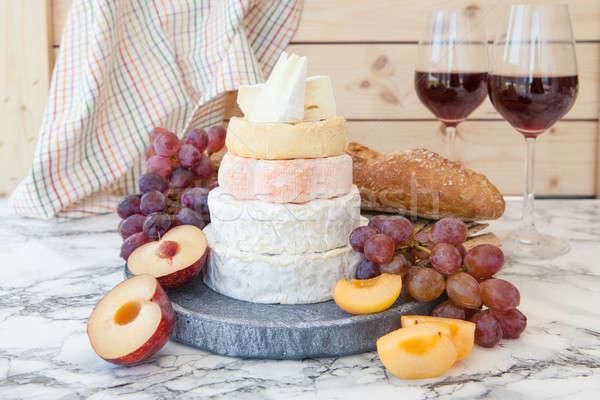 Foto stock: Suave · frescos · frutas · vino · pan