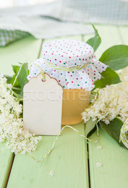 Fatto in casa gelatina fiori vintage jar fiori Foto d'archivio © BarbaraNeveu
