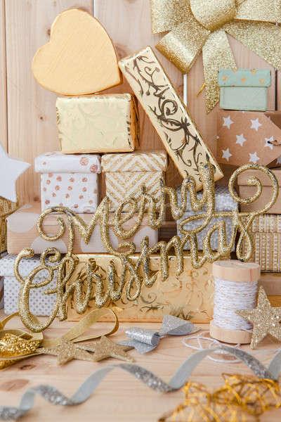 Peu présente Noël ornements heureux amusement Photo stock © BarbaraNeveu