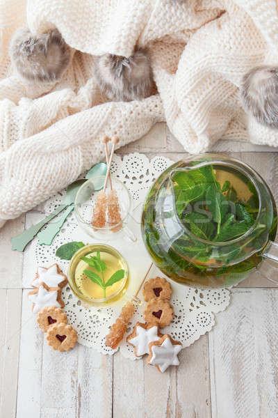 Chá fresco de folhas raio doce Foto stock © BarbaraNeveu