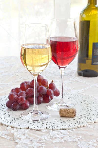 Rood witte wijn lang stengel bril glas Stockfoto © BarbaraNeveu
