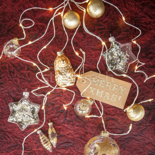 Dorado blanco Navidad adornos vidrio oscuro Foto stock © BarbaraNeveu