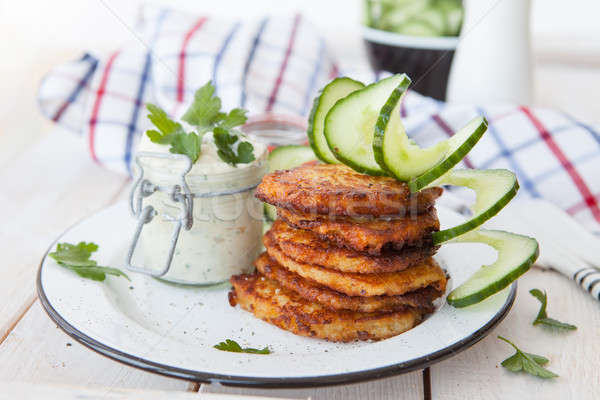 Potato fritters with sour cream Stock photo © BarbaraNeveu