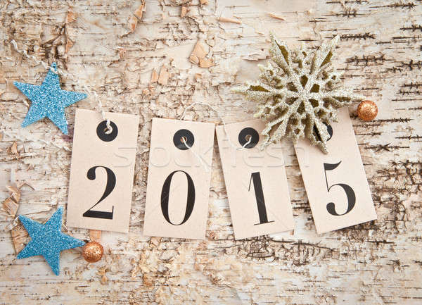 2015 on rustic wooden background Stock photo © BarbaraNeveu