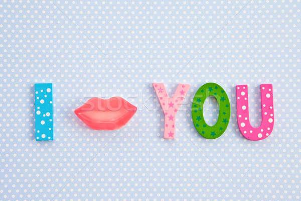 I Kiss you with lip shaped candy Stock photo © BarbaraNeveu