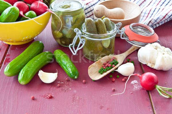 Photo stock: épices · vinaigre · vintage · alimentaire · légumes · poivre