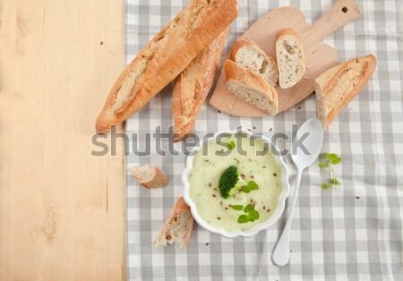 Сток-фото: домашний · сливочный · брокколи · суп · свежие · багет