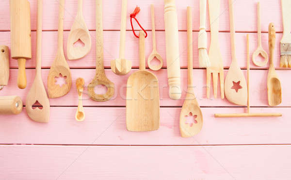 Wooden kitchen utensils Stock photo © BarbaraNeveu