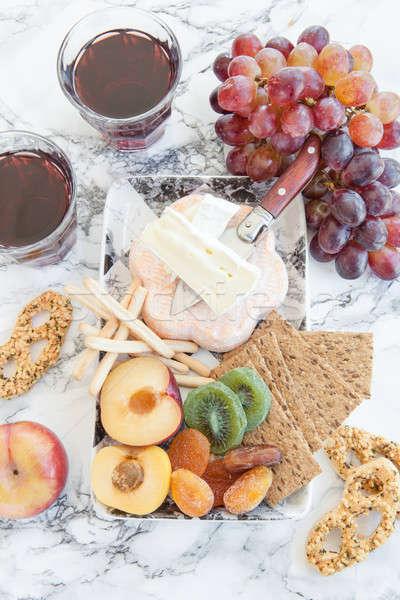 Foto stock: Suave · frescos · frutas · queso · placa · mármol