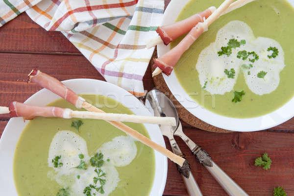 Domowej roboty kremowy zupa chleba wędzony szynka Zdjęcia stock © BarbaraNeveu