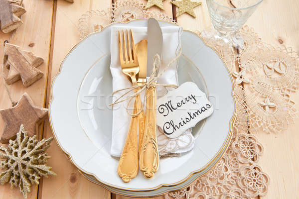 Stock photo: Vintage tableware placed for dinner