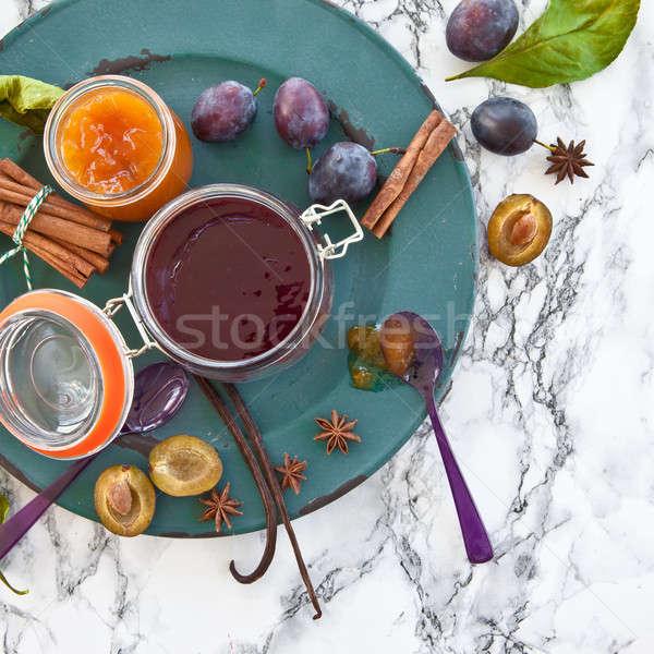 Eigengemaakt pruim jam variëteit voedsel najaar Stockfoto © BarbaraNeveu
