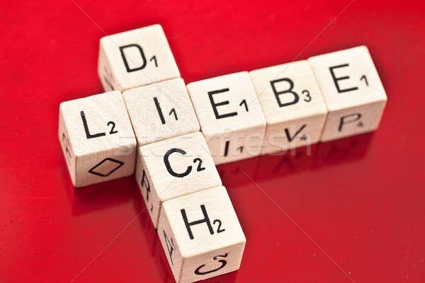 Love you in German written on wooden dice Stock photo © BarbaraNeveu