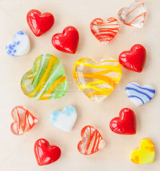 Glass hearts in various colors Stock photo © BarbaraNeveu