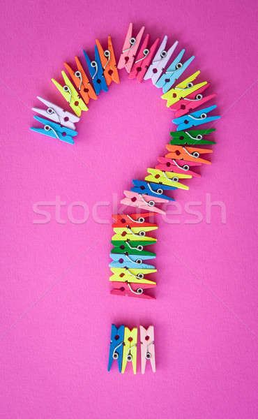 Colorful clothes pegs on pink Stock photo © BarbaraNeveu