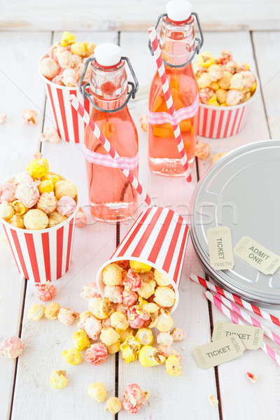 Colorful popcorn in striped cups Stock photo © BarbaraNeveu