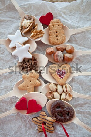 Cookies noten christmas chocolade snoep Stockfoto © BarbaraNeveu