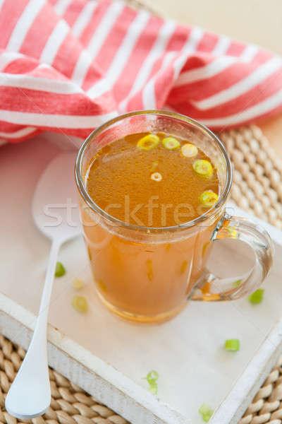 Házi készítésű csont húsleves póréhagyma üveg csésze Stock fotó © BarbaraNeveu