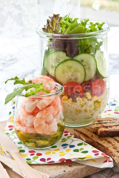 Strato insalata vintage verdure fresche alimentare Foto d'archivio © BarbaraNeveu