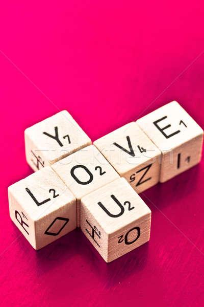 Love you written on wooden dice Stock photo © BarbaraNeveu