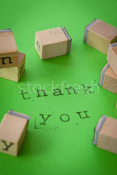 Köszönjük zöld jegyzet írott gumi bélyegek Stock fotó © BarbaraNeveu