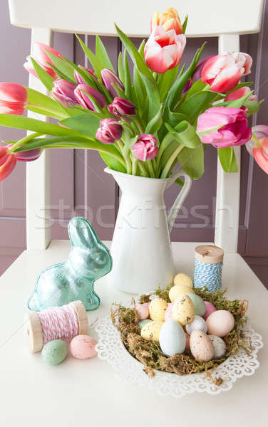 Chocolate treats and fresh tulips Stock photo © BarbaraNeveu