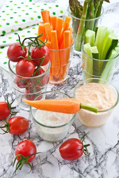Variedade comida óculos legumes mármore Foto stock © BarbaraNeveu