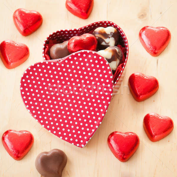 Colorful Chocolate hearts Stock photo © BarbaraNeveu