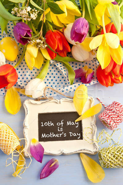Spring flowers and vintage chalkboard Stock photo © BarbaraNeveu