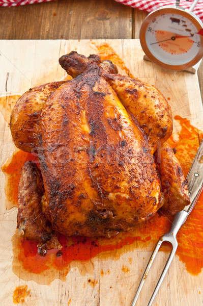 Vers gegrilde kip geheel houten vlees Stockfoto © BarbaraNeveu