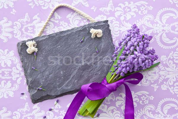 Fresh hyacinths and a slate chalkboard Stock photo © BarbaraNeveu