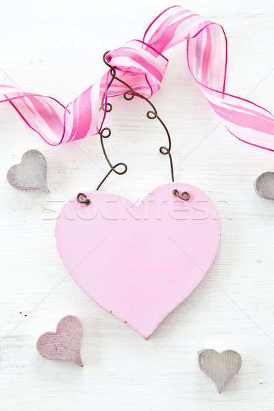 White wooden background with heart Stock photo © BarbaraNeveu