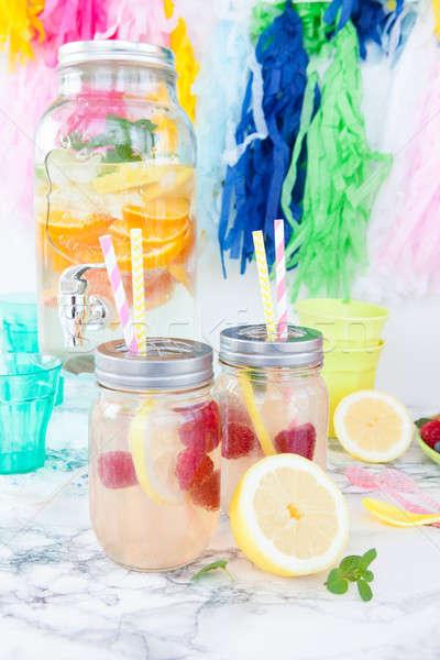 Foto stock: Caseiro · limonada · fresco · limão · framboesas · festa