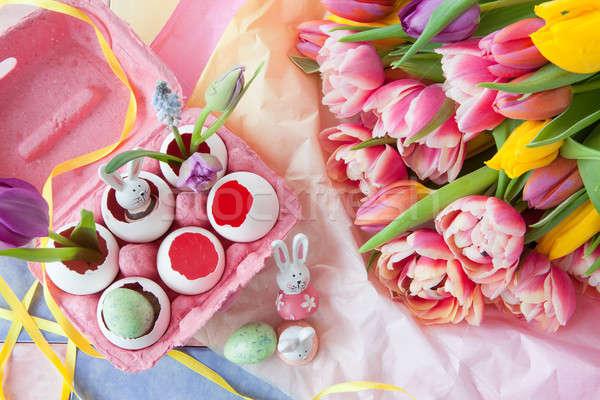 Stok fotoğraf: Süslemeleri · Paskalya · renkli · taze · çiçekler · iyi · paskalyalar