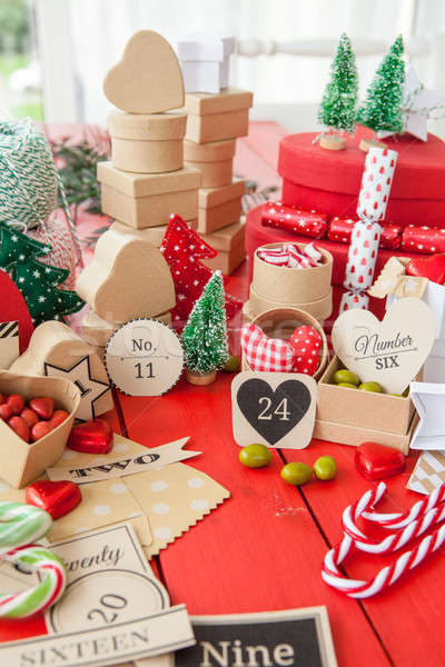Advent calendar with gift boxes Stock photo © BarbaraNeveu